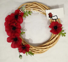 Artificial Silk Flower Poppy Remembrance Day Wicker Wreath Ring Tribute Memorial