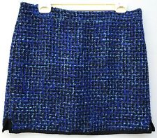 J Crew Tweed Skirt 10 Postage Stamp Mini Indigo Black Blue Medium