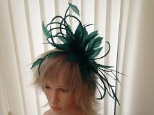 EMERALD GREEN  FEATHER  FASCINATOR-HAT WEDDING,ASCOT,ACCESSORIES, CUSTOM MADE