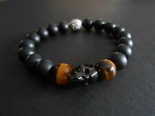 Onyx Golden Tiger Eye Black Crystal Skull Bracelet Baby Chrome King Loungefly