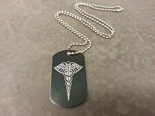 SOS Medical Alert Necklace Black Aluminium. Diabetes, Allergies etc.