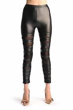 Black With Transparent Mesh and Faux Leather Front Stripes (L000393)