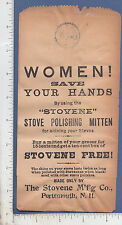 9404 Stovene Co. c 1895 bag Wood Stove Polish Mitten Portsmouth, NH woman's work