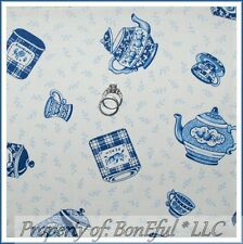 BonEful Fabric FQ Cotton Quilt VTG Blue White Flower Leaf Tea Cup Pot Small Tiny