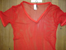 T-shirt rouge Taille M résille  transparent sheer sexy gay Ref M09
