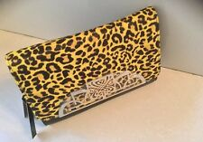 BIBA LEATHER YELLOW LEOPARD PRINT RUBY CLUTCH NEW WITH TAGS