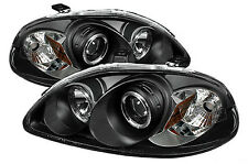 Honda Civic (1999-2001) Black Halo Angel Eye Projector Front Headlights Lights