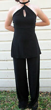 White House Black Market Womens One Piece Jumper Choker Halter Black Outift S