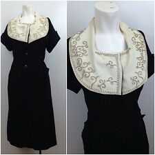Vintage 1940s 50s Black Rayon Rhinestone Button Up House Dress Rockabilly M