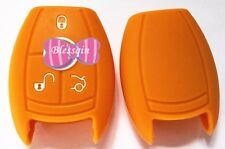 ORANGE SILICONE CAR SMART KEY COVER SUITS MERCEDES BENZ 3 BTN 11 CLR RD