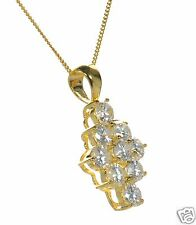 Gold Over 925 Sterling Silver Round Clear CZ Rhombus Shape Pendant Necklace '