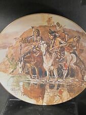 Russell SCOUTING THE CAMP Ltd 2500 Pcs American Indian Horse Ltd Ed Plate