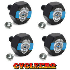 4 Black Billet License Plate Frame Tag Bolts For Harley POLICE BADGE BLUE LINE B
