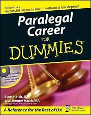 Paralegal Career For Dummies Scott Hatch, Lisa Hatch Books-Good Condition