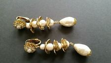 Sign Miriam Haskell Pear Shape Baroque Pearls Rhinestone Leaf Earrings Jewelry