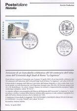 ITALIA 2003 LA SAPIENZA ROMA  BOLLETTINO COMPLETO DI FRANCOBOLLI ANNULLO FDC