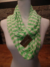 Francesca's Infinite Scarf Green/White Striped Polyester New With Tags