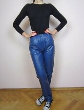 vtg 80's BLUE LEATHER PENCIL high waisted pants trousers  S M
