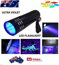 Mini Aluminum UV ULTRA VIOLET 9 LED FLASHLIGHT BLACKLIGHT Torch Light Lamp AUS