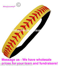 Leather Softball Seam Headband Yellow with Red Seam Lace Wholesale Fast Pitch