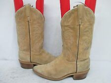 Acme Beige Suede Leather Cowboy Western Boots Size 7 C Style 662 USA