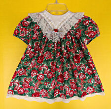 Vintage Toddler Baby Girl 3T 3 Christmas Dress Roses Holiday Oversized Collar
