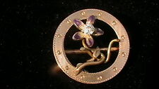 VINTAGE 10K ,DIAMOND & PURPLE ENAMEL FLOWER  PIN