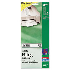 Avery File Folder Labels on MiniSheets, 37/16 x 2/3, White, 300/Pack, PKAVE2181