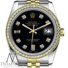 Women`s Rolex 26mm Datejust 2 Tone Black Color Dial with 8+2 Diamond Accent