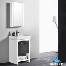 "BLOSSOM 20"" MILAN SINGLE SINK BATHROOM VANITY IN GLOSSY WHITE & SILVER GREY"