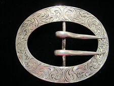 COLLECTABLE ANTIQUE STERLING SILVER ENGRAVED BELTBUCKLE SIGNED SCRIPT L