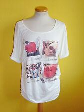 Shirt Tally Weijl Größe L naturweiß mit Motiv wie neu