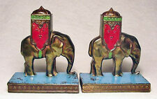 Indian Elephant with Howdah/Small Gray Metal Bookends by LV Aronson ~1925/Nice!