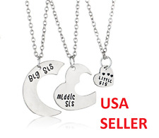 3 Piece Big Middle Little Sister Heart Family Pendant Necklaces - USA SELLER