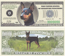 100 Miniature Pinscher Dog Novelty Currency Bills # 323