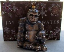 Jay Strongwater Natural Sitting Gorilla Ornament Swarovski Elements New in Box