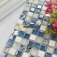 blue color stone mixed glass mosaic tiles kitchen backsplash bathroom wall tile