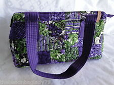 NEW DONNA SHARP CONCORD PATCH REESE BAG HANDBAG PURSE Purple Green Cream