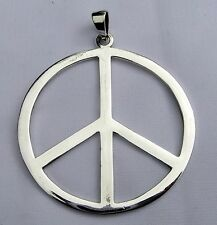 Sterling Silver (925)  Large  Peace Sign  Pendant  ( 43 MM )   !!        New  !!