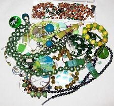 Multicolor Green Brown Beads Buttons Metal Jewelry for Parts & Repairs - 1/2 lb