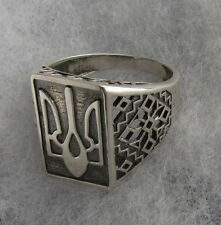 Unisex Sterling Silver Ring with Ukrainian Trident Tryzub, Oxidized, Size 11