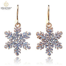Christmas Charm Snowflake Pendant Hook Dangle Earrings For Women Xmas Gift
