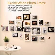 20Pcs Wall Hanging Art Home Decor Display Picture Photo Frame Set Black & White