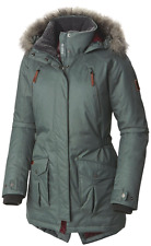 COLUMBIA WOMENS L BARLOW PASS 550 TURBODOWN HOODED DOWN OMNI HEAT JACKET WARM!