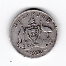 1921 Australia Sterling Silver Sixpence 6P Coin  U-808