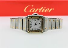 CARTIER SANTOS GALBEE AUTOMATIC 18K GOLD/SS WHITE DIAL LUXURY SWISS MENS WATCH