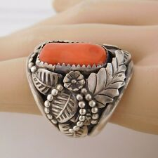 Vtg PAWN Native American NAVAJO Sterling Silver Squash Blossom RED CORAL Ring