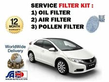FOR HONDA CIVIC 1.8 VTEC R18Z4 FK2 2012-- NEW OIL AIR POLLEN FILTER SERVICE SET