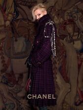 CHANEL 2013 13A Runway Tweed Wool Pleated Belted Coat Jacket Manteau 42 FR $9620