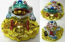 waving coin Solar Powered feng shui frog Golden Money Toad THREE LEGGED TOAD 3""